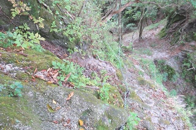 鎖場右手が崖で滑落危険個所