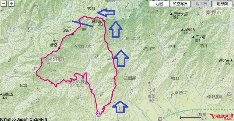 寄から鍋割山登山のコースと標高差詳細図