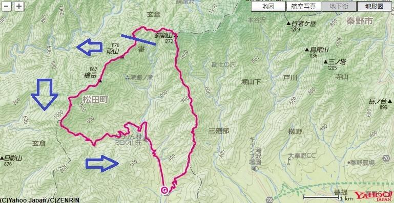 檜岳・伊勢沢ノ頭へのルート・標高差