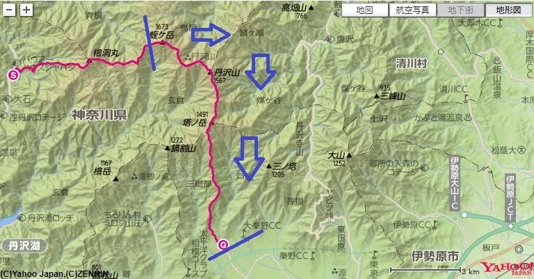 蛭ヶ岳山荘から丹沢山・塔ノ岳・大倉バス停へ下山したルート