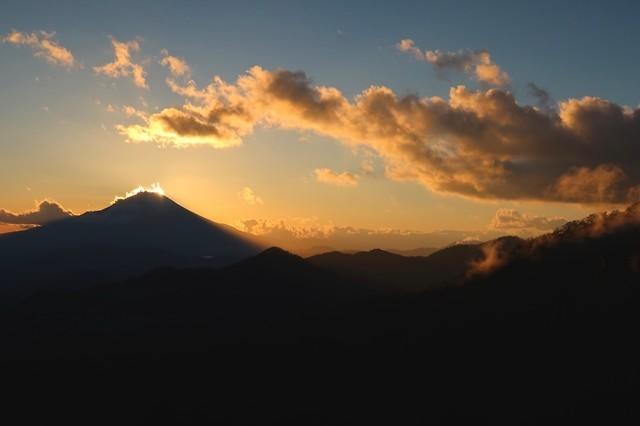 ダイヤモンド富士日の入りの景色