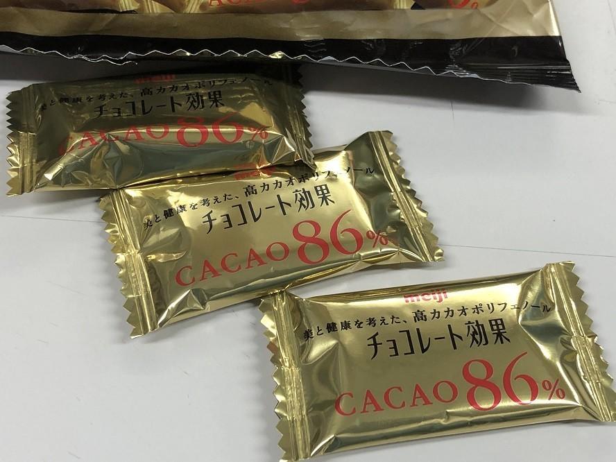 カカオポリフェノールが多く含まれているチョコレート効果86%