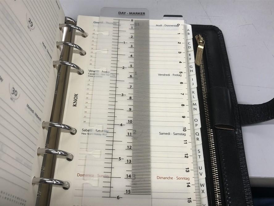 手帳の定規とKNOXの下敷きリフィル