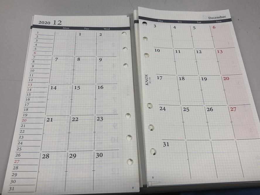 月間の手帳リフィルのスケジュール
