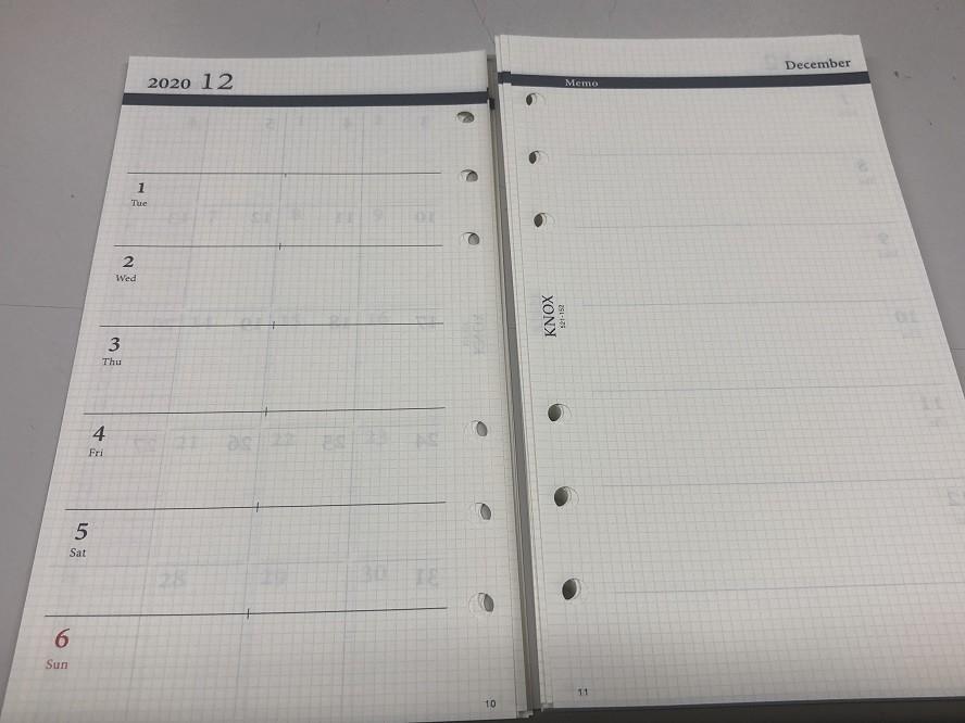 週間とメモの手帳リフィル