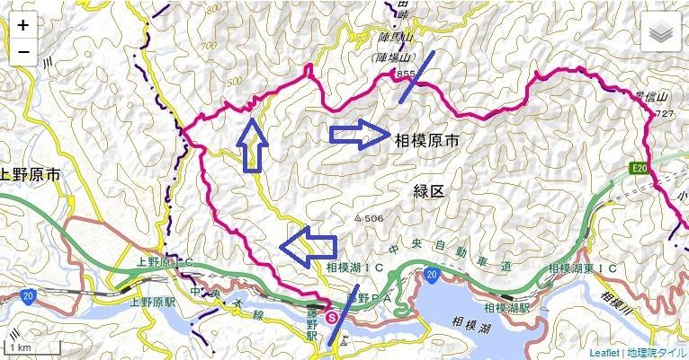 岩戸山・小渕山・鷹取山・陣馬山への登山ルート、標高差の地図
