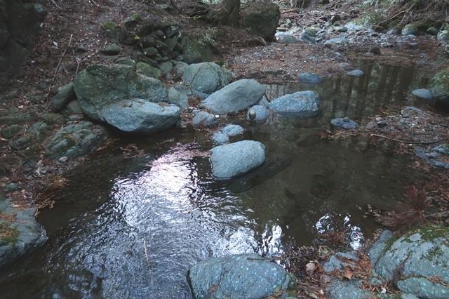 弁天の森キャンプ場ルートの渡渉地点