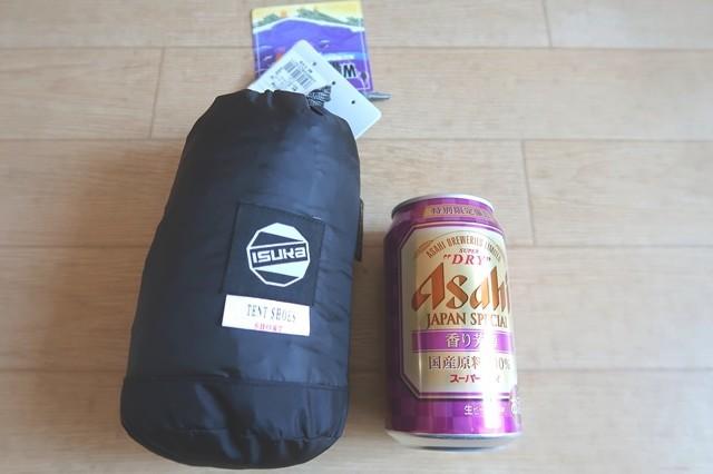 イスカダウンテントシューズ350ml缶と大きさの比較