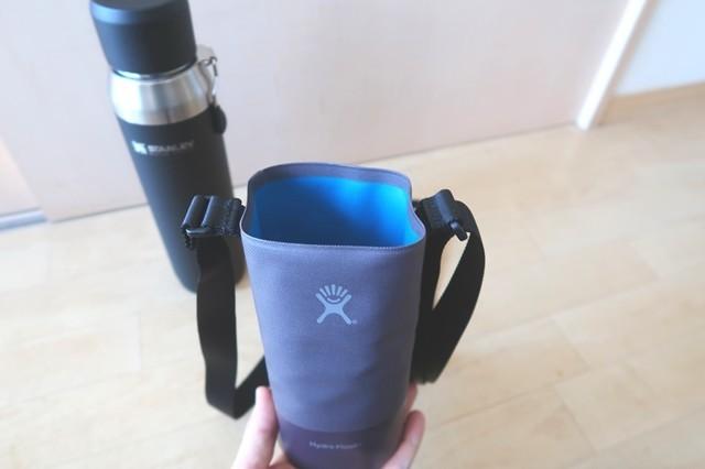 ハイドロフラスクの水筒ホルダーとスタンレーの水筒