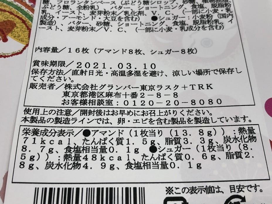 東京ラスクカロリー