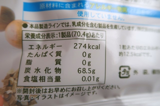 薬日本堂のど飴のカロリー