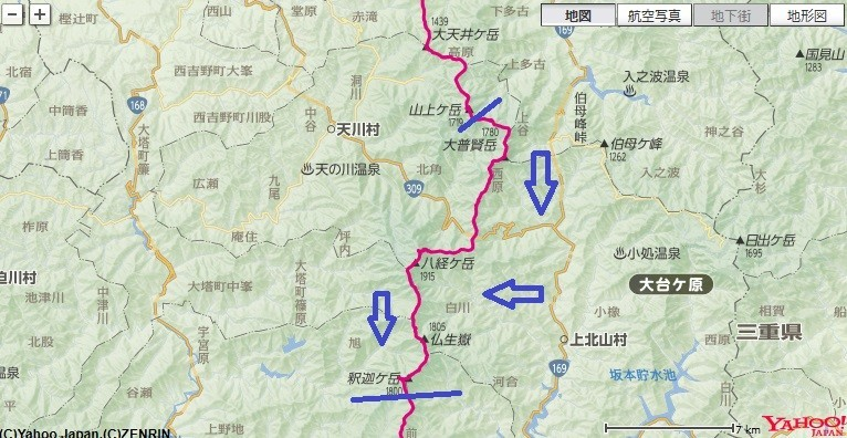 弥山~八経ヶ岳~釈迦ヶ岳~千丈平をテント泊縦走した登山コースと標高差の地図