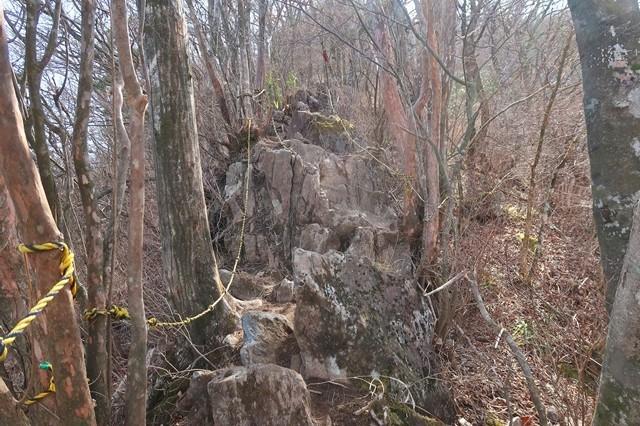 金時山への登山道崩壊地点と迂回路