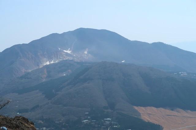 神山と大涌谷の噴気景色