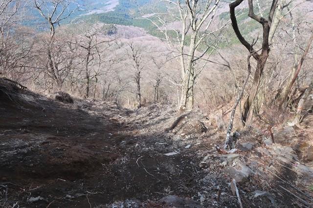 金時山の北斜面になるルート崩壊の様子