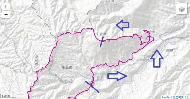 地蔵堂から矢倉沢ルート(矢倉沢林道)足柄古道・矢倉岳のコース、標高差の地図