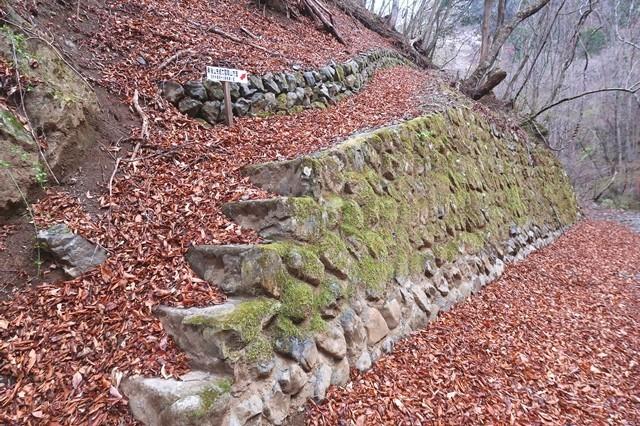 ヨモギ尾根(鉢焼場尾根)の入口と道標