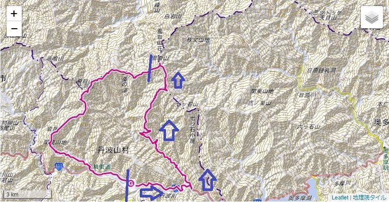 ヨモギ尾根・雲取山への登山ルート標高差詳細図