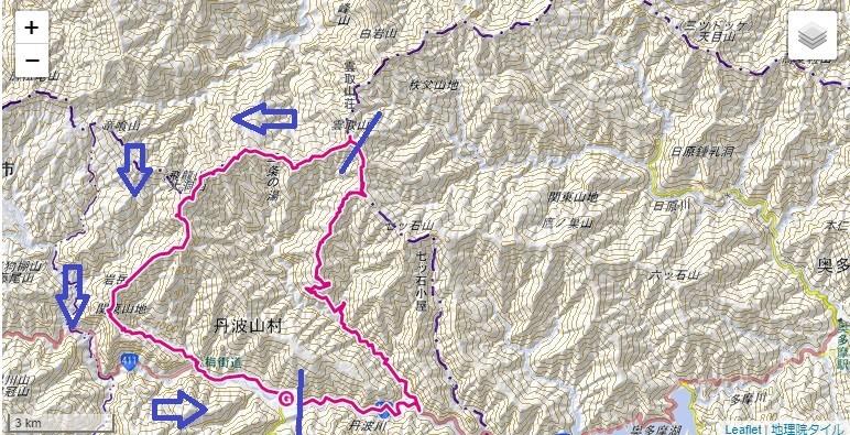 飛龍山・前飛龍山・岩岳尾根の登山ルート、標高差詳細図