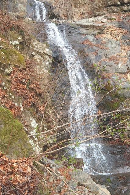 三つ峠北口登山道から初滝の景色