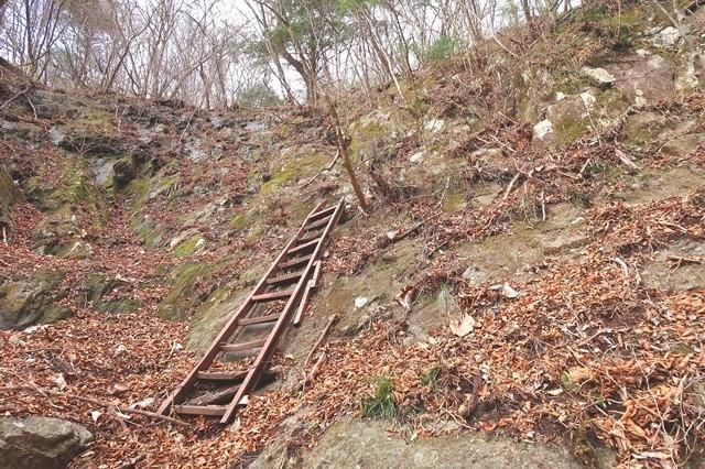 三つ峠北口登山道の梯子箇所