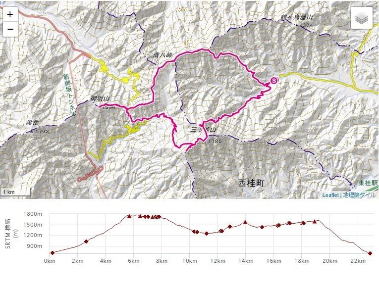 宝鉱山~三つ峠山北口ルート~三つ峠山への登山ルート、標高差の地図