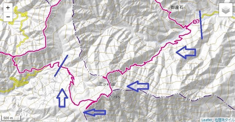宝鉱山~三つ峠山北口ルート~三つ峠山~三ツ峠山登山口バス停付近への登山ルート、標高差詳細地図