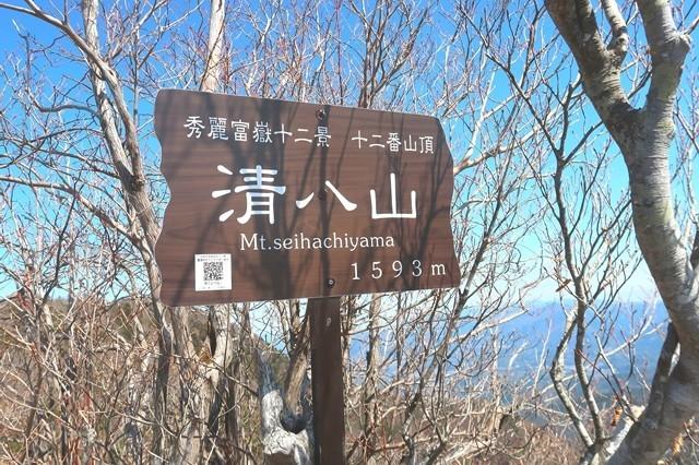 清八山の山頂標高は1,593m秀麗富岳十二景十二番山頂