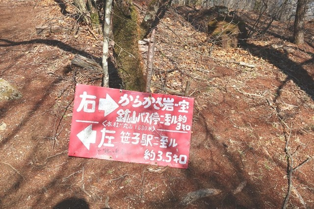 宝鉱山へ至る下山道分岐