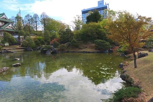 佐藤記念美術館の前にある池と日本庭園
