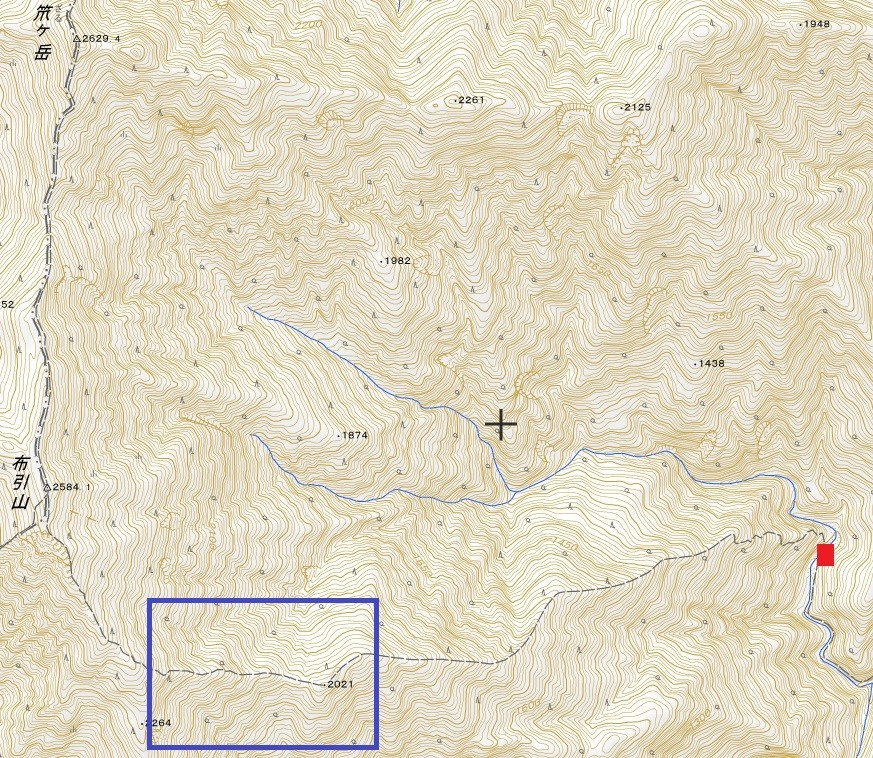 国土地理院笊ヶ岳遭難事故の場所の地図