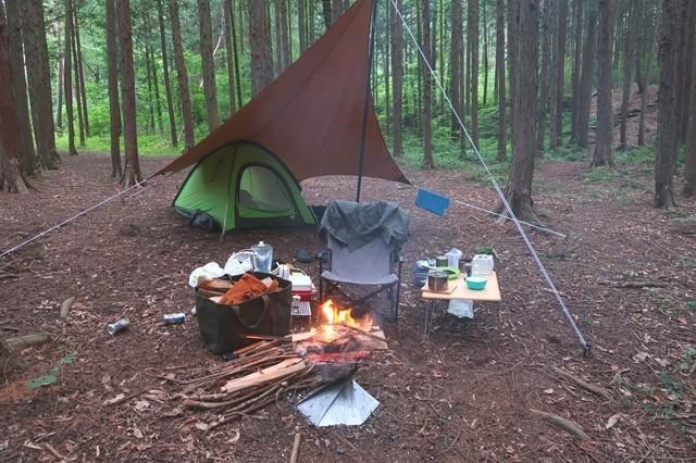 尾白の森キャンプ場でソロキャンプの様子