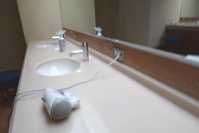 尾白の湯の設備と洗面台・ドライヤー露天風呂