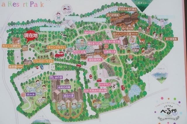 尾白の森キャンプ場のエリアマップ