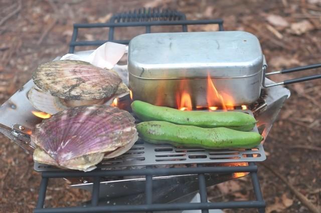 チタン網を使ってキャンプで焼き肉を開始した様子