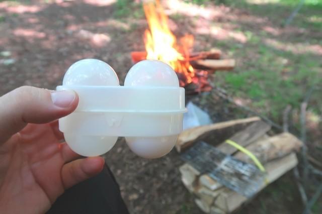 キャンプ食材に生卵