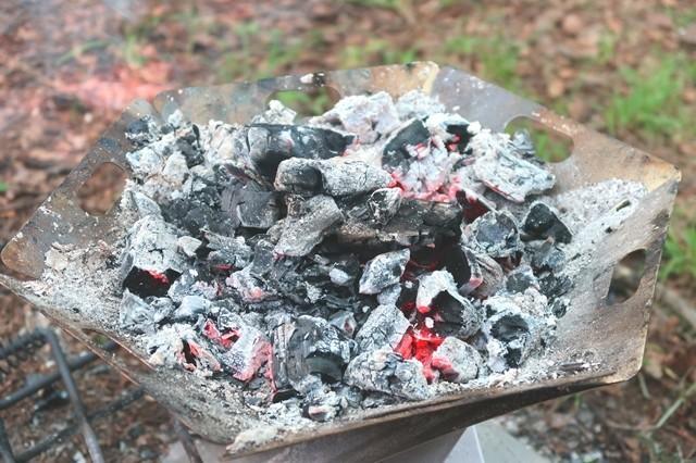 キャンプ炭の残骸