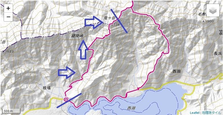 雪頭ヶ岳・鬼ヶ岳登山の標高差地図