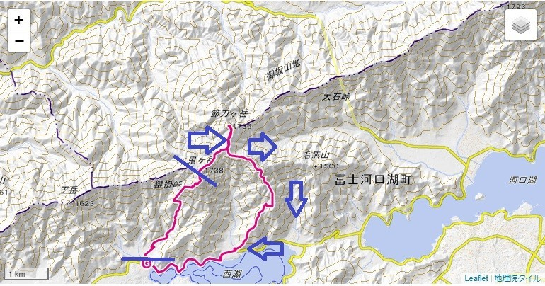 節刀ヶ岳・十二ヶ岳登山コース詳細図