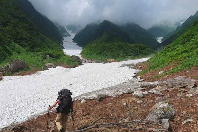 石転び沢雪渓登山の始まりルートの行程