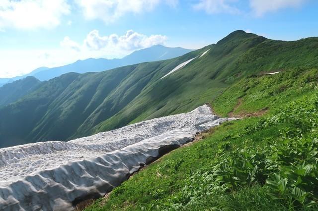 雪渓が夏道を隠してしまっている所