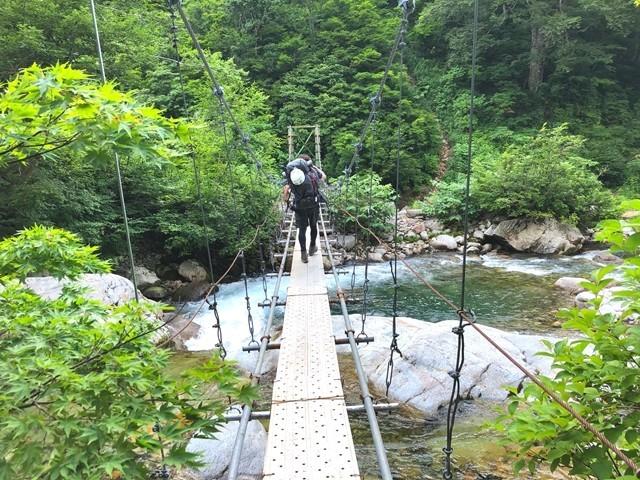 ダイグラ尾根入口桧山沢の吊橋