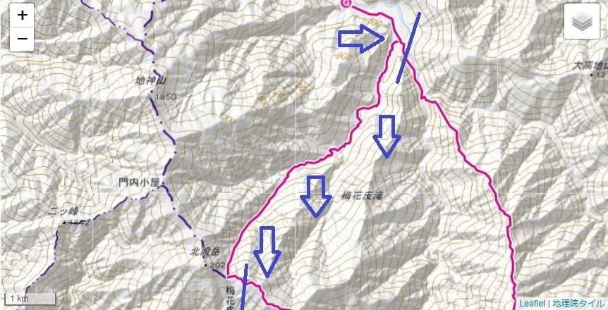 石転び沢の雪渓登山のコース・標高差詳細図