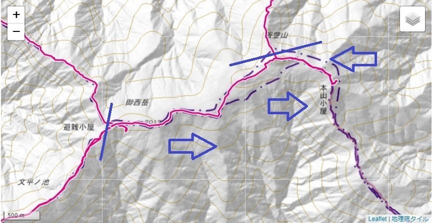 御西小屋~飯豊山・本山小屋、テント場(一ノ王子)、水場のルートと標高差地図