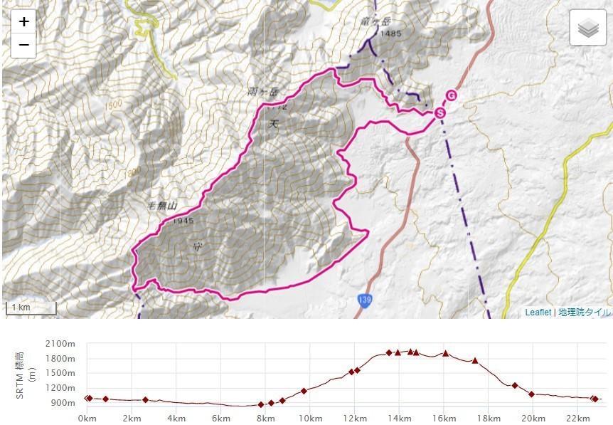 毛無山登山(根原の吊橋・比丘尼の滝)地蔵峠ルートの標高差地図