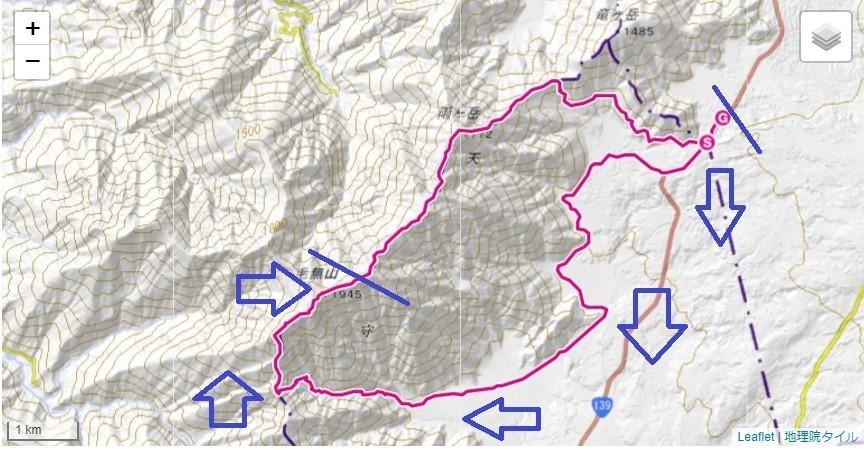 毛無山・根原の吊橋・比丘尼の滝・地蔵峠ルート地図