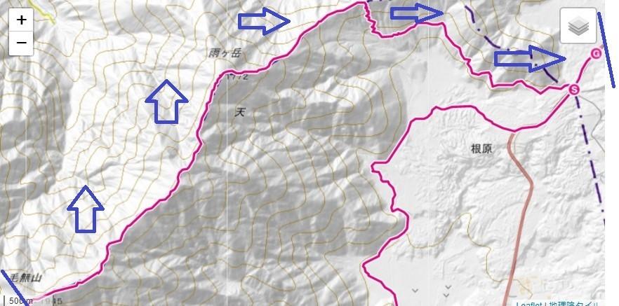 高見岳・タカデッキ・雨ヶ岳のルートと標高差の地図