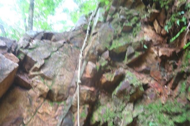 登山道にありますロープ