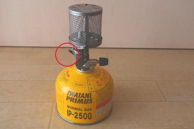 赤丸の部分がガスランタン点火装置