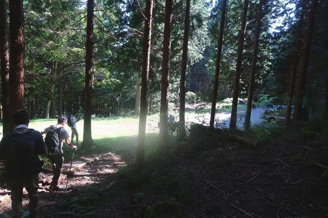 長者ヶ岳登山口付近の林道合流地点